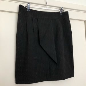 Fitted business skirt, black with ruffle detail